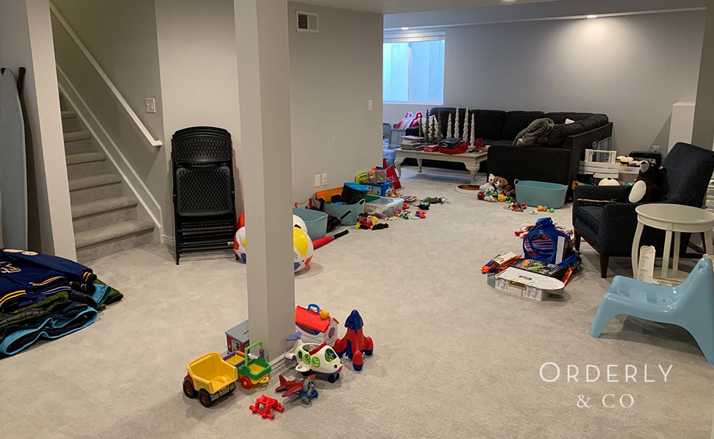 Child's Playroom with Everything Pulled Out to be Professionally Organized