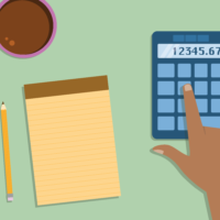 Hand calculating the costs and fees associated with a real estate cash offer on a home