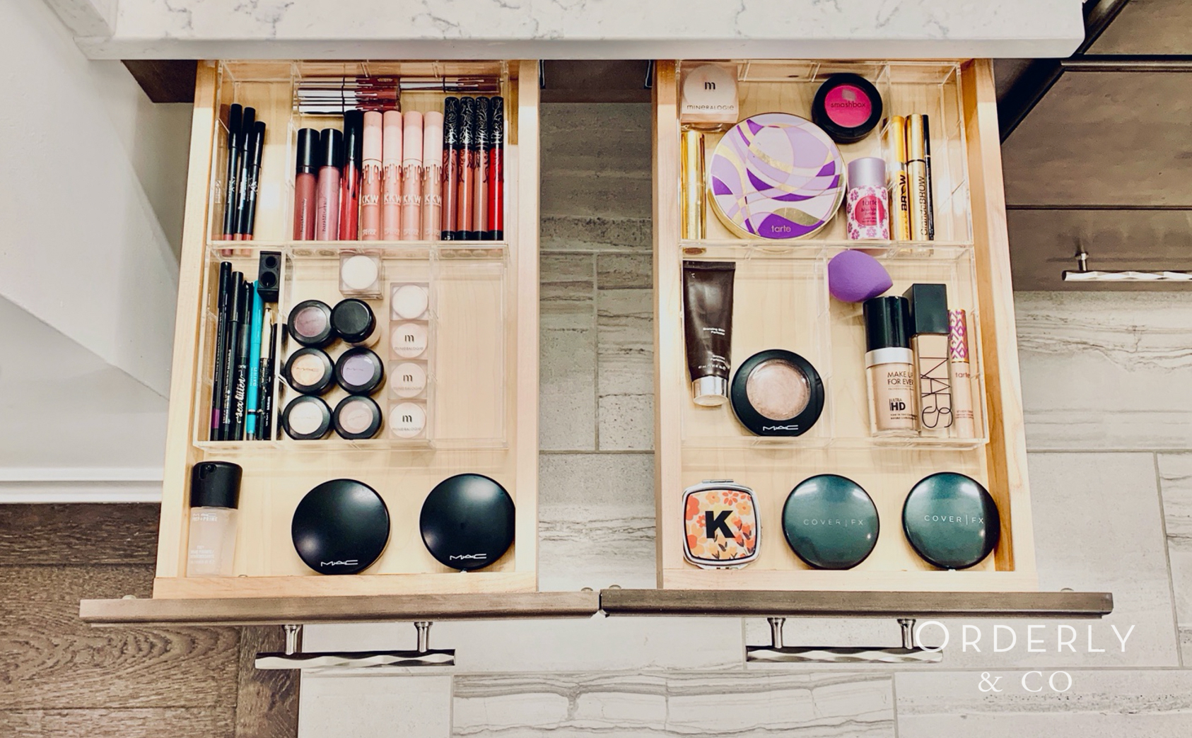 Makeup drawers organized by Professional organizer in Denver, CO